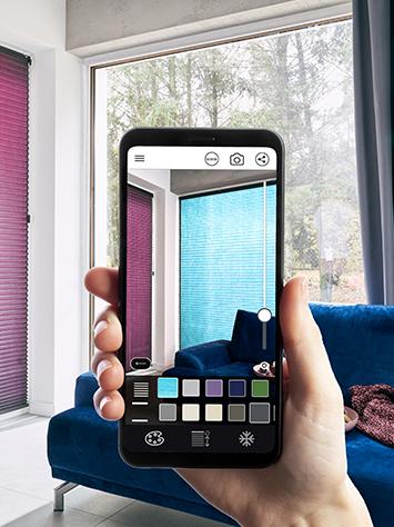 Aplikacja ANWIS HOME pozwala przymierzać wirtualne osłony okienne na dowolnym oknie.