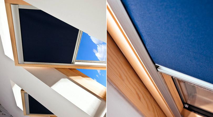 Roletki do okien dachowych chronią przed nagrzewaniem się pomieszczeń na poddaszu.